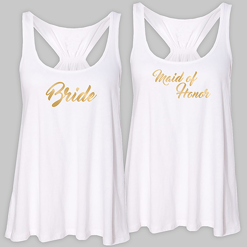 Personalized Bridal Party White Tank Top | Personalized Bridesmaid Shirts