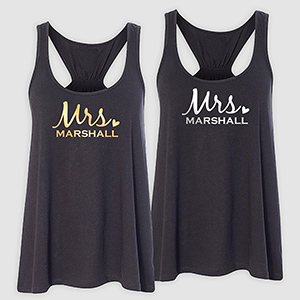 Personalized Mrs. Black Tank Top | Personalized Bride Shirts