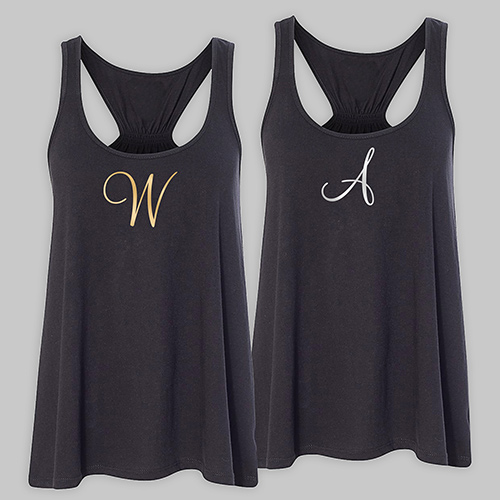 Personalized Initial Black Tank Top TT39906BKX