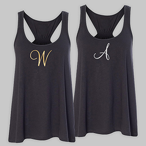 Personalized Initial Black Tank Top