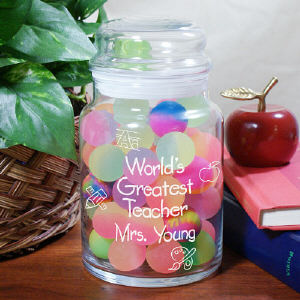 Personalized World's Greatest Teacher Treat Glass Jar