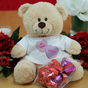 Personalized Be Mine Teddy Bear with Chocolate