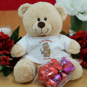 Personalized Cupid Teddy Bear with Chocolate Hearts