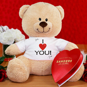 Personalized I Love You Teddy Bear with Chocolate