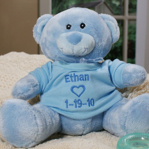 Embroidered New Baby Boy Blue Teddy Bear | Personalized Baby Gifts