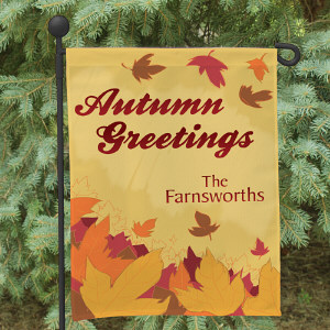 Autumn Greetings Personalized Garden Flag