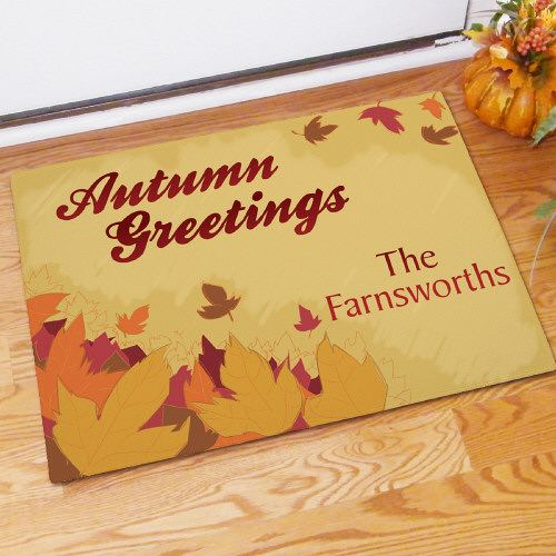 Personalized Autumn Greetings Doormat 83129997