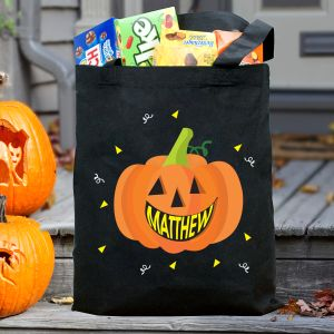 Personalized Pumpkin Trick or Treat Black Tote Bag | Personalized Halloween Bags