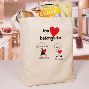 Personalized Belongs To Heart Tote Bag