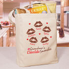 Personalized Chocolate Smooches Canvas Tote Bag
