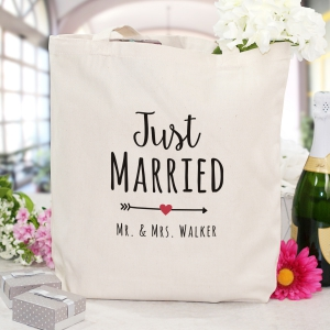 Personalized Just Married Canvas Tote Bag
