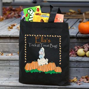 Ghostly Tricks and Treats Personalized Black Canvas Trick or Treat Bag