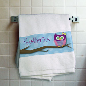 Personalized Owl Bath Towel