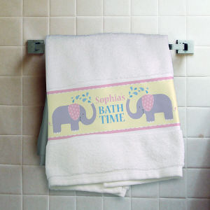 Personalized Elephant Bath Towel