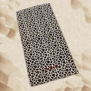 Embroidered Giraffe Print Beach Towel