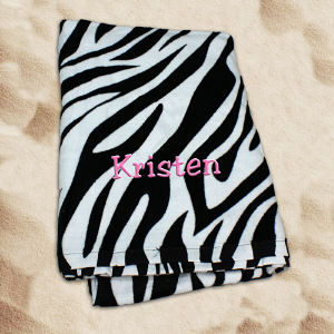 Embroidered Zebra Print Beach Towel