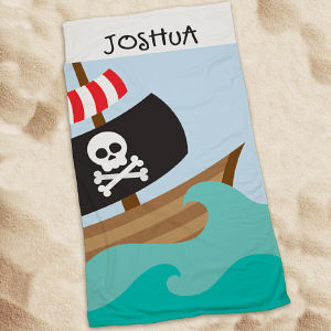 Personalized Pirate Ship Beach Throw