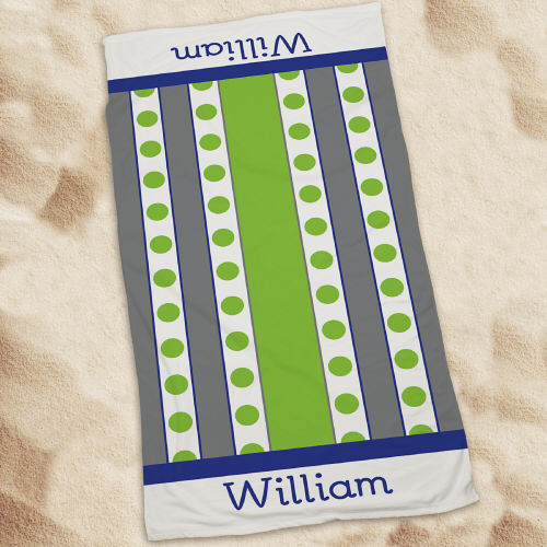 Personalized Green Polka Dots And Stripes Beach Towel  U594433