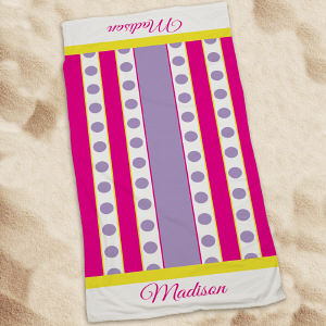 Personalized Purple Polka Dots And Stripes Beach Throw