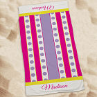 Personalized Purple Polka Dots And Stripes Beach Towel