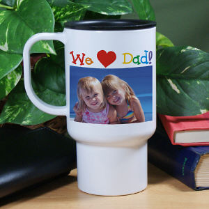 Personalized I Love Dad Photo Travel Mug