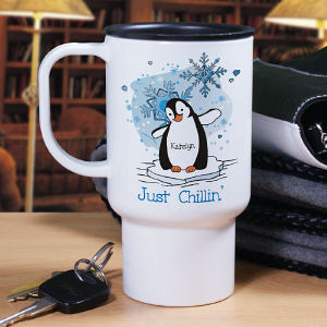 Just Chillin' Penguin Personalized Travel Mug