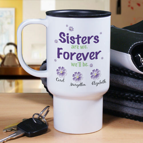 Sisters Personalized Travel Mug | Personalized Sister Gifts