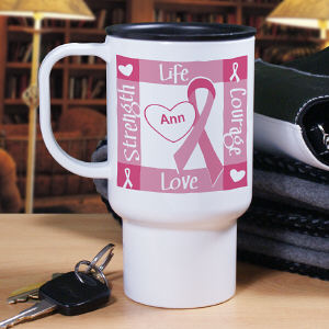 Personalized Breast Cancer Awareness Travel Mug