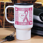 Personalized Breast Cancer Awareness Travel Mug T219980