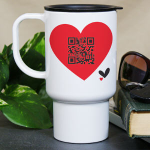 Personalized QR Code Heart Travel Mug
