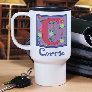 Personalized Floral Initial Travel Mug