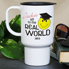 Personalized Off To The Real World Graduation Travel Mug T27530