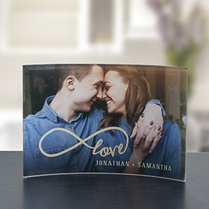 Personalized Infinity Photo Curved Glass Keepsake | Romantic Home
