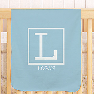 Single Initial Personalized  Baby Blanket