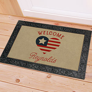 Personalized Patriotic Heart Doormat