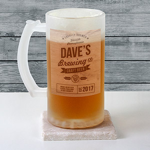 Personalized Brewing Company Frosted Glass Stein U10368106