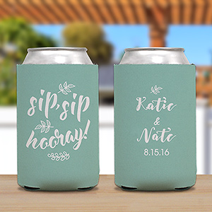 Personalized Sip,Sip, Hooray Koozie | Personalized Couple Gifts