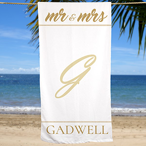 Personalized Mr & Mrs Beach Towel