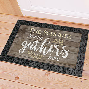 Personalized Family Gathers Here Doormat