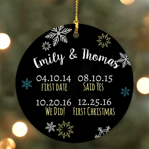 Personanlized Couples Dates Ceramic Christmas Ornament | Personalized Couples Ornament