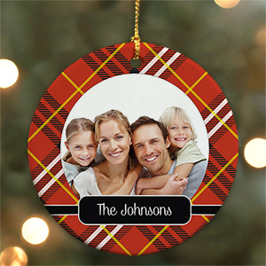 Personalized Plaid Ceramic Christmas Ornament U1063910