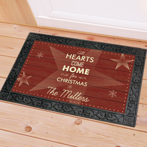 Personalized Hearts Come Home Door Mat