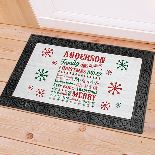 Personalized Christmas Family Rules Doormat | Personalized Christmas Doormats