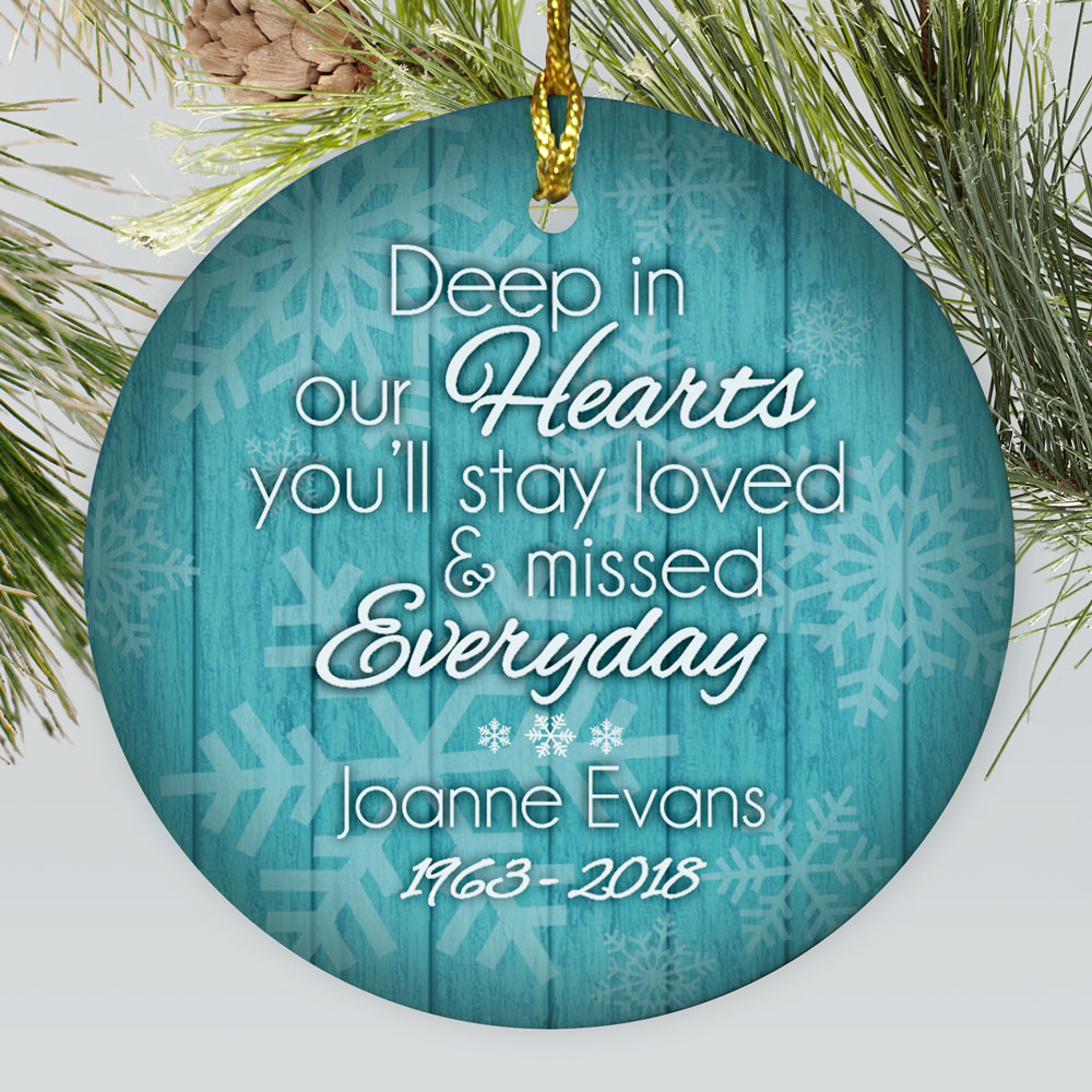 Personalized Deep In Our Hearts Memorial Ceramic Ornament | Memorial Christmas Ornaments