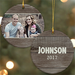 Personalized Wood Texture Photo Ceramic Ornament U1065710