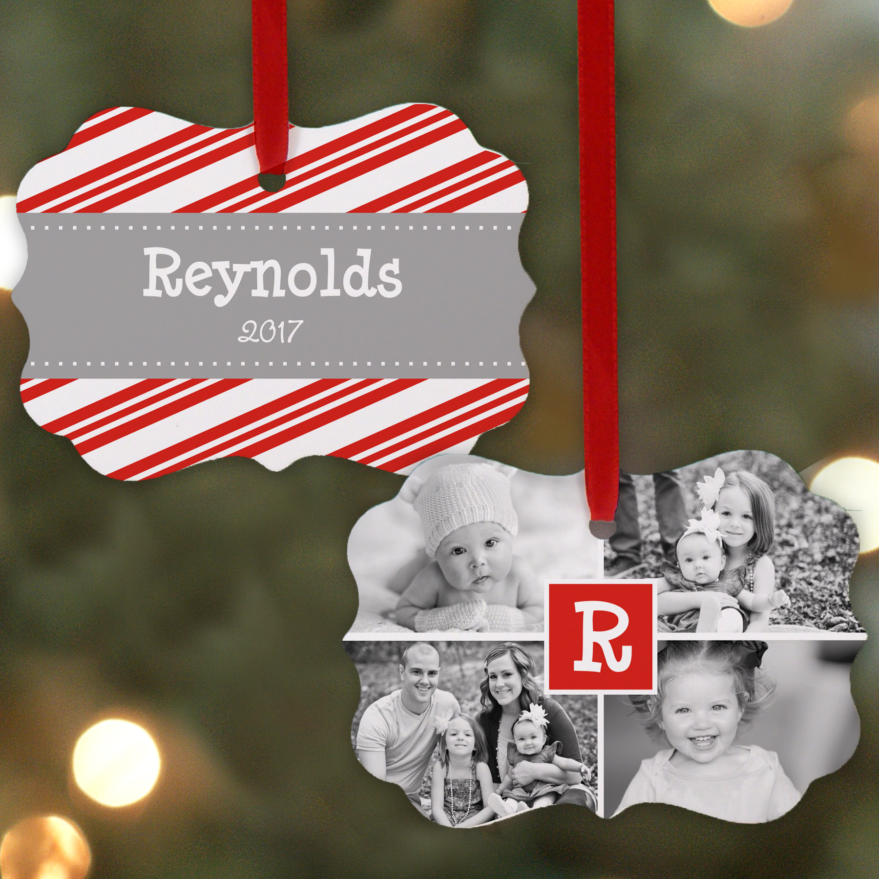 Personalized Photo Collage Double Sided Ornament | Picture Ornaments