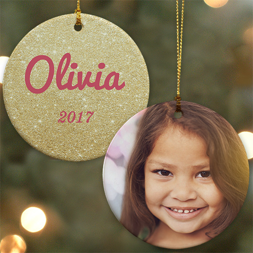 Personalized Glitter Name Photo Ornament | Personalized Christmas Ornaments For Kids