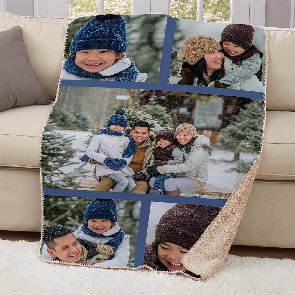 Personalized Photo Collage Fleece Throw | Personalized Photo Blankets