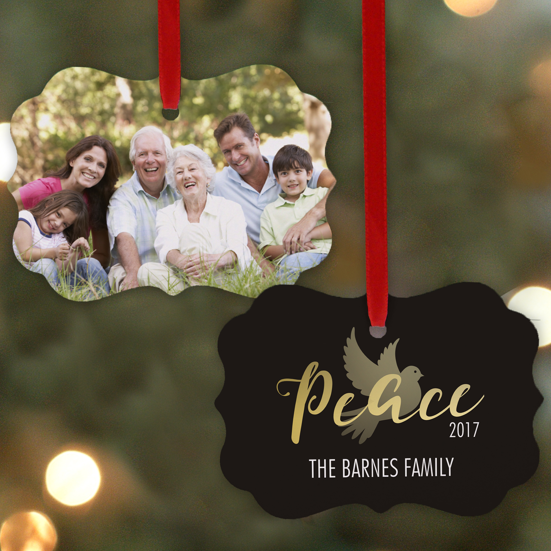 Personalized Peace Photo Christmas Ornament | Personalized Picture Ornaments