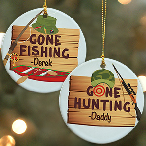 Personalized Gone Fishing or Gone Hunting Ornament